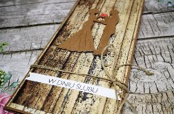 Kartka ślubna z motywem drewna 07