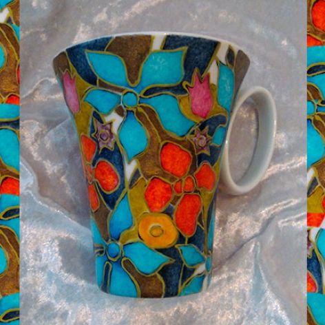 kubek w kwiaty ręcznie malowany