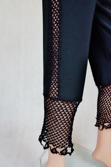 Spodnie czarne z wstawkami