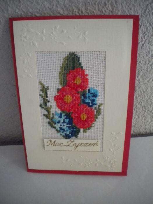 Kartka haftowana - kwiaty