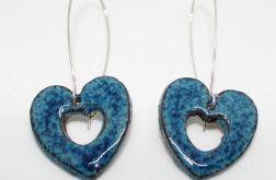 Piękne niebieskie kolczyki ceramika HANDMADE