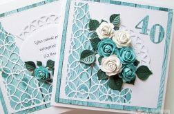 Kartka ROCZNICA ŚLUBU z turkusowymi różami