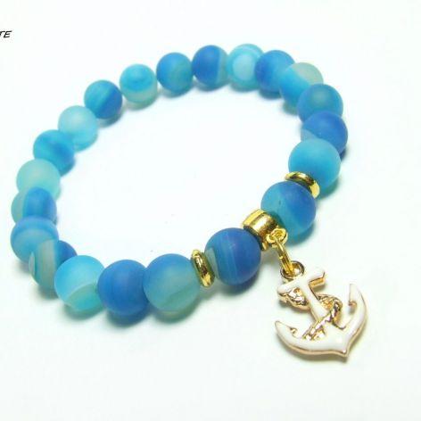 BLUE MARINA - bransoletka z agatów