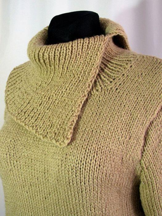 Sweter z  norweskim szlaczkiem - rozpięty golf