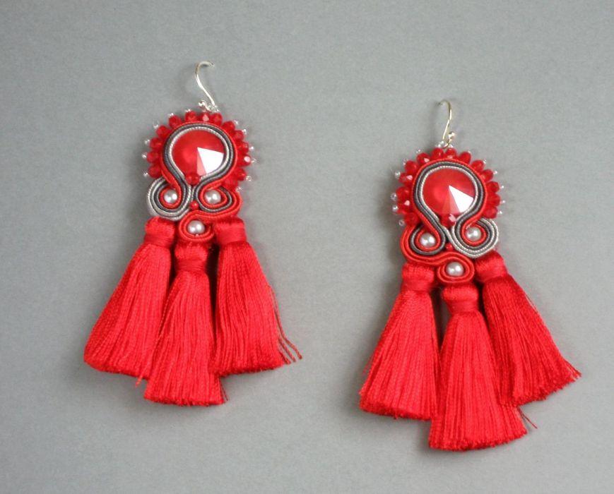 Czerwone maki -  kolczyki sutasz z chwostami - kolczyki sutasz wiszące