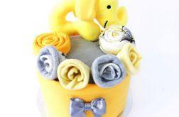 MINI Tort wyprawkowy - zółto-szary