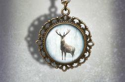 Medalion, naszyjnik - Jeleń 3 - zdobiony, stare złoto