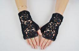 Mitenki Hand Made czarno-srebrne
