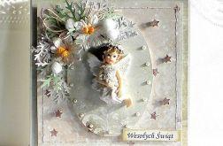 Kartka bożonarodzeniowa z aniołkiem