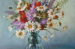Kwiaty Margaretki,ręcznie malowany, olej