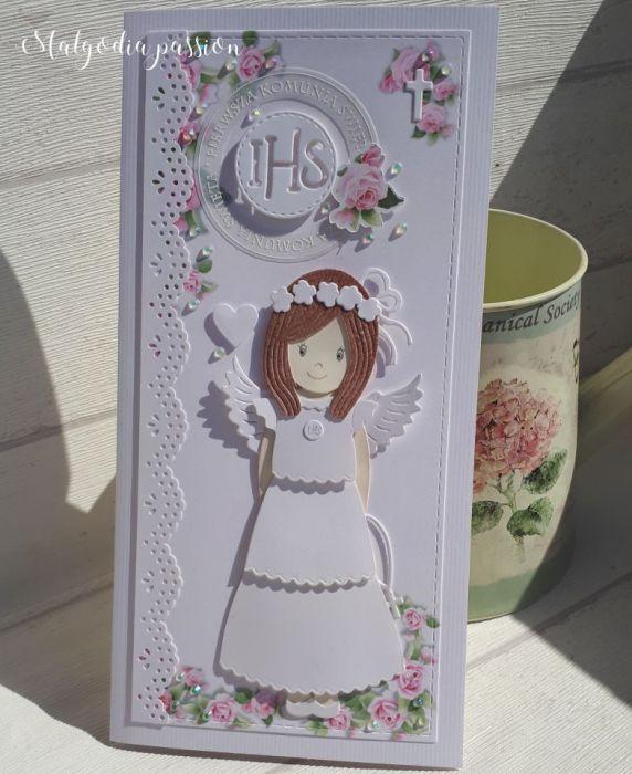 Kartka na komunię z dziewczynką ^