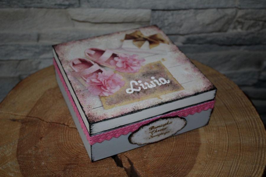 Pudełko pamiątka Chrztu personalizacja