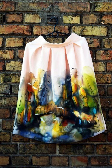 recznie malowana spodnica pejzaz