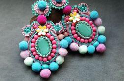 Kolczyki turkusowo-różowe z pomponami