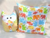 Poszewka i przytulanka sowa - słonie 2