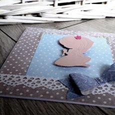 Kartka na Komunię Świętą fiolet perełki