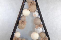 Drewniana brązowa choinka LED Hand Made