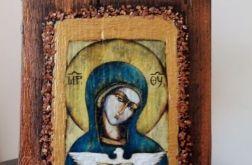 Mała ikona z wizerunkiem Matki Bożej z gołąbkiem