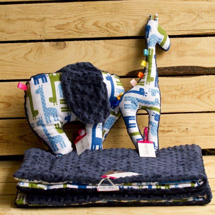 Miękki kocyk minky - g. żyrafki 75x100