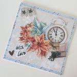 Kartka Boże Narodzenie handmade zegar -