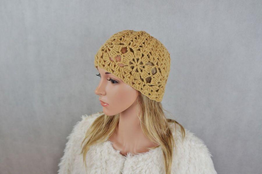 Czapka wełna beżowa 01 - czapka ręcznie robiona