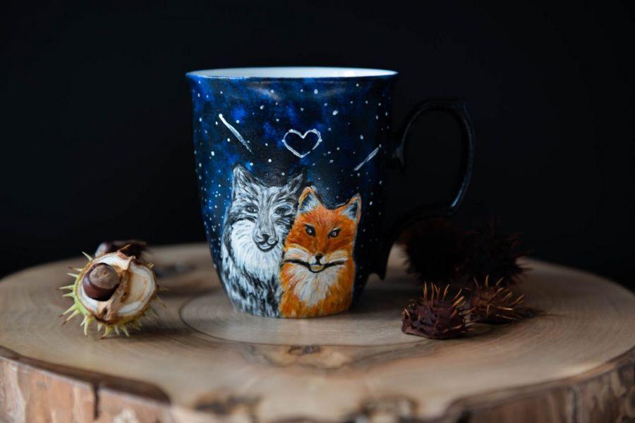 Porcelanowy kubek do kawy z wilkiem i lisem - null