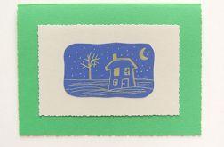 Ręcznie robiona zielona kartka domek