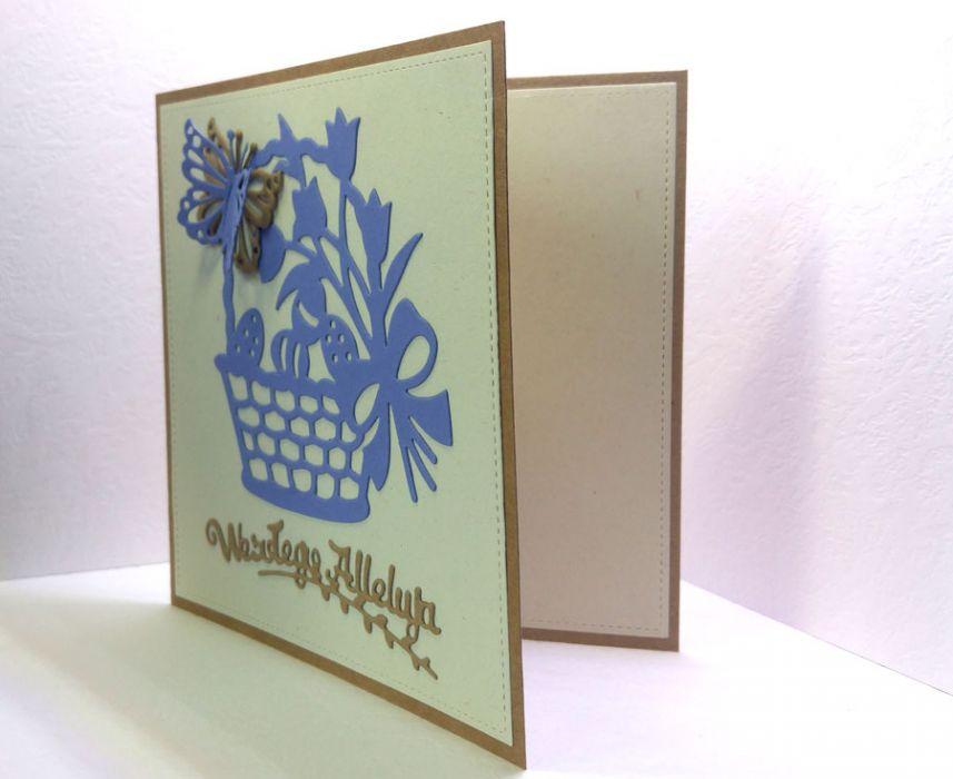 Kartka wielkanocna - niebieski koszyczek nr 3 - do samodzielnego wypisania
