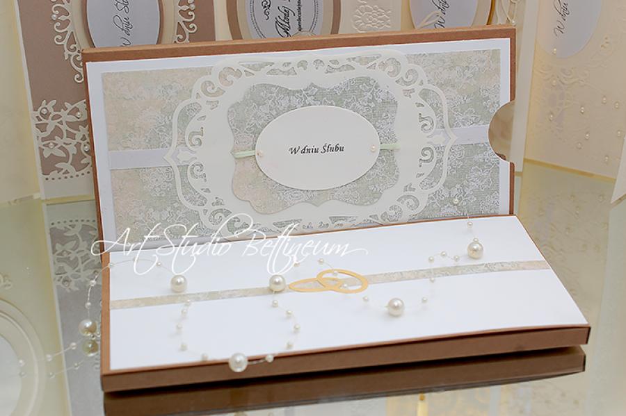 Karta ślubna No. 5 - Karta ślubna. Wykonana ręcznie. W delikatnych kolorach.