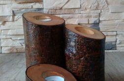 Komplet trzech świeczników drewnianych