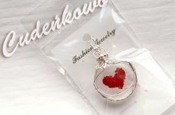 Szklane serce - szklany kaboszon