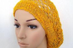 ażurowy beret wiosenno-jesienny w kolorystyce żółto-pomarańczowej