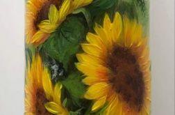 Świeca ręcznie malowana słoneczniki