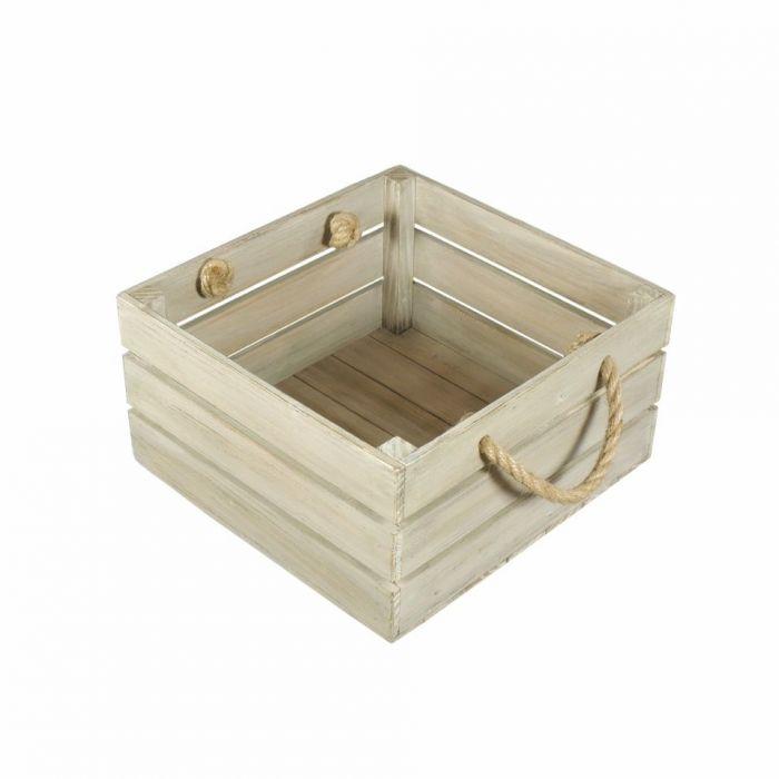 Skrzynka drewniana biało brązowa 30x31x16,5 - Skrzynka na prezenty