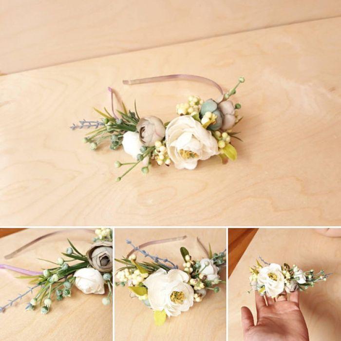 Rustykalna jasna kwiatowa opaska sesja wesele