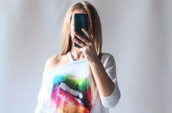 Sweter damski asymetryczny dekolt, odkryte ramię