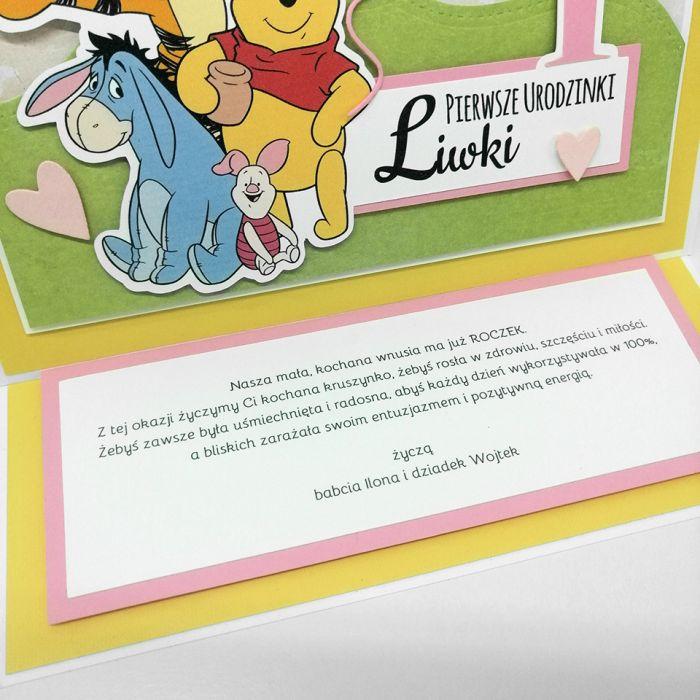 Wesoła kartka z Kubusiem Puchatkiem UDP 036 - Wesoła kartka z Kubusiem Puchatkiem roczek urodzinki życzenia