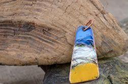 Wisior emaliowany wykonany ręcznie z miedzi.