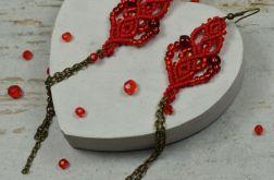 Bardzo długie kolczyki czerwone z łańcuszkiem