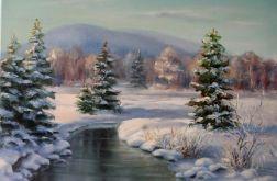 Pejzaż Zima Beskidy, ręcznie malowany, olej