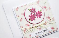 Kartka URODZINOWA z różowymi kwiatuszkami