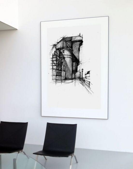 PLAKAT Gdańsk żuraw czarno biała grafika - Starówka gdańska