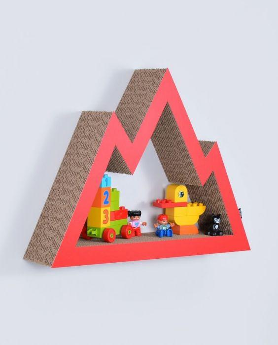 Półka na książki zabawki GÓRY | czerwony
