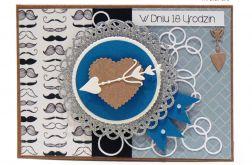 Niebieska z wąsem i sercem kartka 18 urodziny