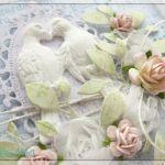 Delikatna kartka na Ślub z ptaszkami