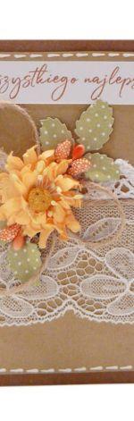 Żółty kwiat kartka Urodziny lub Imieniny