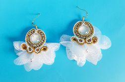 Złote kolczyki ślubne, biżuteria, wesele, prezent