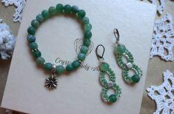 komplet biżuterii zielony agat
