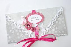 Kopertówka dla Młodej Pary w kolorze turkusowo - niebieski popielato - różowym