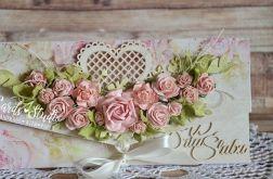 kopertówka z brzoskwiniowymi różami